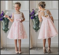 Wholesale Birthdays Fancy Dress - Fancy Pink Flower Girl Dress with Appliques Half Sleeves Knee Length A-Line Gown with Ribbon Bows For Christmas