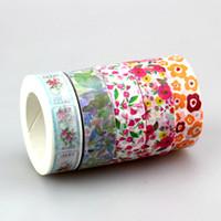 Wholesale Rice Mask - Wholesale- 2016 Cute 5 pcs   Lot Tape Flower Plant Scrapbooking Japanese Rice Washi Tapes Decorative Adhesive Diy Masking Paper Tape For G