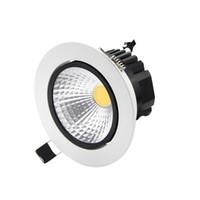 ingrosso cob led dimmerabile da incasso downlight-vendita all'ingrosso Dimmable LED da incasso a soffitto 6w 9w 12w 15w LED COB Downlight Spot da incasso lampada leggera 110 V o 220 V