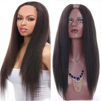 Wholesale Malaysian U Wigs - Kinky Straight U Part Human Hair Wigs For Black Women U Part Wigs Malaysian Virgin Hair Yaki Natural Color 8-24 inch
