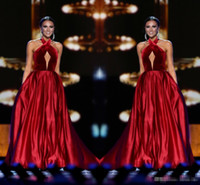 Wholesale Dresses Made Usa - Wine Red Miss USA Pageant 2017 Evening Gowns Keyhole Neck Sleeveless with Pockets A-Line Women Formal Occasion Wear Long Prom Party Dresses