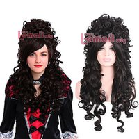Frete GrátisBarco Marie Antoinette Gorgeous Long Wave Black Hair Cosplay Wig zy34c