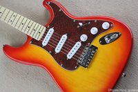 Wholesale Electric Guitar Sunburst St - Factory store CS red pickguard cherry sunburst ST signature maple fretboard 6 string Chrome Hardware Electric Guitar Guitarra