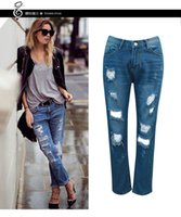Wholesale Styles Trouser For Women - Hot sale Jeans for women Ripped Distressed Worn-out trousers woman jeans Pants Withhigh waist jeans free shipping