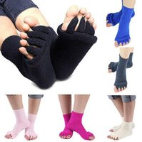 Wholesale Massage Socks Health - Yoga Massage Socks Health Five Toe Socks Women Sports Fitness Sock Gym Dance Hosiery Floor Sleep Socks Foot Non Slip Anklet 300Pairs OOA3213