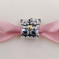 Wholesale Bead Bear - Hot S925 Sterling Silver Beads Bear Hug Charm with gold plated heart Fit Pandora ALE Style Bracelets & Necklace