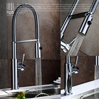 Wholesale Brushed Nickle Brass Pulls - Wholesale- HPB Brass Brushed Chrome Pull Out Rotary Kitchen Faucet Mixer Tap for Sinks Single Handle Deck Mounted Hot And Cold Water HP4105