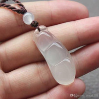 Wholesale Green Jade Couple Necklace - Natural color ice kind of green beans to send his girlfriend couple honey jewelry section white chalcedony agate jade pendant