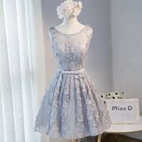 Wholesale Embroider Skirt Vintage - Silver A Line Sleeveless Short Homecoming Bridesmaid Dress 2017 Lace Pageant Cocktail Party Skirt Open Back Graduation Prom Gown Sexy