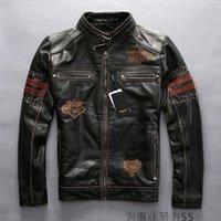 costuras tece venda por atacado-Avirex homens jaquetas de couro genuíno costumes americanos clube do motor bordado multi-padrão mão-tecido do couro da motocicleta jaquetas do vintage