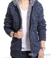 Wholesale Men Winter Sweater Fur - Jacket Men Thick Velvet Cotton Hooded Fur Jacket Mens Winter Padded Knitted Casual Sweater Cardigan Coat Spring Outdoors Parka