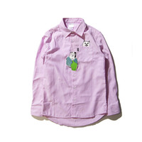 Wholesale Grey Collared Shirt Woman - Wholesale- Hip Hop Ripndip Shirts Men Women Fashion Brand Clothing Harajuku Ripndip Couples Blue Pink Grey Solid Cat Homme Shirts Jacekt