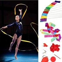 Бесплатная доставка Colorful Gym Dance Ribbon Rhythmic Art Gymnastic Streamer Twirling Rod Stick 10 Colors Wholesale 4M