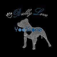 Nuevo Hotsale I Love Bulldogs Iron On Rhinestone Transfer Hotfix Motivo al por mayor para la ropa