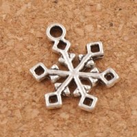 square pendant bead - Snowflake With Open Square End Charm Beads x19 mm Tibetan Silver Pendants Fashion Jewelry DIY L788