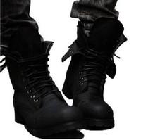 Wholesale Rain Motorcycle - Retro Combat Timber Martin boots autumn Winter England-style Fashion Men's High Top Rain Boot Black Shoes Hot Sale Men Casual Ankle Botas