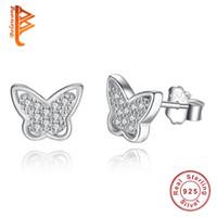 Wholesale 925 Silver Earring Butterfly - BELAWANG New Sterling Silver Butterfly Earrings Korean Women's Lovely Delicate Stud Earring Butterfly 925 Jewelry Anniversary Gift Wholesale