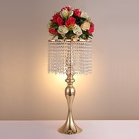 Wholesale Rack Wheels - New Arrival 68 cm Height Golden Crystal Ferris Wheel Flower Rack  Wedding Table Party Centerpiece Holder Home Decor 1 Lot=10 Pcs