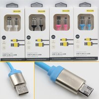 Wholesale Phone Feet - 5 Feet 1.5M Metal Connector Micro USB Cable Data sync Charging Cable Unbroken Stronger charging Lead For Samsung HTC Android smart phone