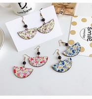 Wholesale Wholesale Flower Fans - 2017 Korea personality wood wooden fan long nets with red pearl earrings earrings