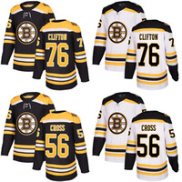 Wholesale Cheap Cross Stitching - 2017 New Brand Mens Boston Bruins 56 Tommy Cross 76 Connor Clifton Best Quality Cheap Stitched Black White Ice Hockey Jersey Accept Custom