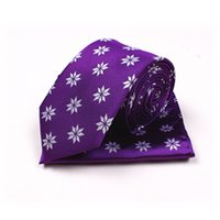 Wholesale TIESET Men s Purple Polyester Necktie Hanky Set Snowflake Pattern Casual Style For Party And Some Formal Occasion Wedding Party