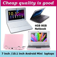 Wholesale Netbook Dhl - 7 inch 10.1 inch Mini laptop VIA8880 Netbook Android laptops VIA8880 Dual Core Cortex A9 1.5Ghz 4GB 8GB Netbook DHL FREE