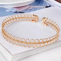 Wholesale gold statement fashion cuffs resale online - Funny Design Metal Statement Chocker for Women Silver Gold Cuff Chocker Alloy Simple Fashion Chain Girls Party Necklaces Christmas Gift