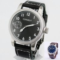 Corgeut 46mm Cassa quadrante nero / blu con carica manuale Movimento meccanico 6497 Movimento Mens Watch 3ATM resistente all'acqua Orologio da polso luminoso 1901/1902