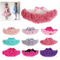 Wholesale Baby Girls Fluffy Pettiskirt - 24 colors baby girl kids Christmas pettiskirt tutu short skirts tulle fluffy skirt satin ribbon bow princess lace pink costumes