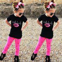 Wholesale Little Girl Leggings Wholesale - European style children summer clothes sets girl little lady lipstick print T shirt+eyelash print leggings 2pcs sets kids cotton clothes set
