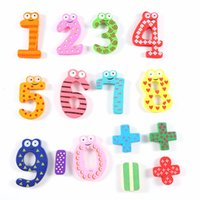 Wholesale Educational Wall Stickers - Wholesale- 15Pcs lot Mathematics Numbers Wooden Fridge Magnets Figures DIY Wall Sticker Home Children Learning Educational Toys Kids Gift