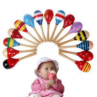 Wholesale Toddlers Music Instruments - Wholesale- 2016 Baby Kids Newborn Toddler Sound Music Rattle Musical Wooden Maraca Instrument Cute Educational Toys