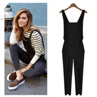 Wholesale Wholesale Womens Overalls - Wholesale- Spring Autumn Club Party Black Sleeveless lastic Waist Embellished Cuffs Long Loose Jumpsuit rompers womens Overalls plus size