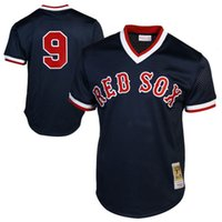 Wholesale Bat Xl - Mitchell & Ness Ted Williams Boston Red Sox baseball jerseys 1990 Authentic Cooperstown Collection Batting Practice Jersey Stitched logos