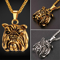 Wholesale Bull Jewelry - U7 New Hot American Pit Bull Terrier Dog Pendant Necklaces Gold Plated Stainless Steel Fashion Retro Punk Pug Jewelry for Women Men GP2416