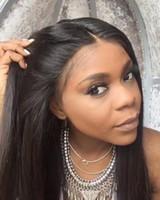 perruque noire rihanna achat en gros de-Perruques de cheveux humains avant de lacet perruques de cheveux vierges perruques de dentelle de cheveux humains pour les femmes noires