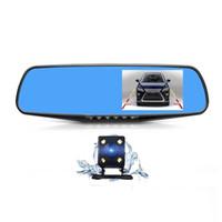 зеркальная двойная камера оптовых-Двойная камера заднего зеркала взгляда камеры автомобиля объектива резервная, рекордер DVR автомобиля камеры черточки 1080P полный HD с камерой кораблей экрана 4,3 дюймов
