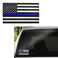 Wholesale Computer Window Decals - Thin Blue Red Line USA Flag Decal Sticker for Cars Trucks Computer - 6.5*11.5CM US Flag Car Decal Window Stickers