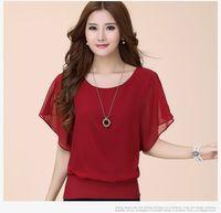siyah artı boyutu bluzlar toptan satış-Yeni Bayan Üstleri Moda Kadınlar Yaz Şifon Bluz Artı Boyutu Fırfır Batwing Kısa Kollu Casual Gömlek Siyah Beyaz Kırmızı Mavi
