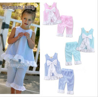 Wholesale Girls Black Top Bow - Kids Clothing Girls Grid Clothing Sets Baby INS Lattice Outfits Petals Bow Vest Pants Suit Summer Falbala Tops Trousers Baby Clothing B2556