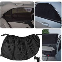 Wholesale Rubber Curtains - Mayitr 1 Pair Car Window Cover Universal Adjustable Car Rear Window Blind Sun Shade Covers Curtain Black Mesh UV Protection