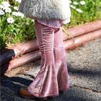 Wholesale Wholesale Flare Printed Pants - Girls Pleuche Bell-bottoms INS Baby Autumn Winter Warm Flare Pants 2017 Fashion Solid Color Kids Trousers HX-783