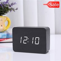 Wholesale 2017 BLACK WHITE Display Wood USB Alarm Clock Wooden LED Digital Alarm Clock For Kids Morden Electronic Desk Table Child Clock CYP