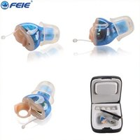 Wholesale Left ear blue color CIC Digital Hearing Aid Acoustic Hearing Amplifier Sound Amplifier Deafness Aid S A Battery DHL