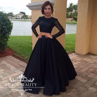 Wholesale Elastic Puffy Sleeves - Sexy Black Two Pieces Prom Party Dresses 2017 Long Sleeves Crop Top Sheer Blink Beads Sequins Puffy Skirt Floor Length Evening Gowns