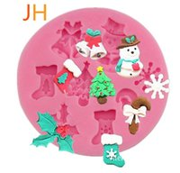 Wholesale Christmas Tree Silicone Mould - 2017 Silicone Cake Moulds DIY Cookies Candy Christmas Molds Silicone Bakeware Christmas Tree Stocking Snowflakes Shaped Baking Kitchen Tools
