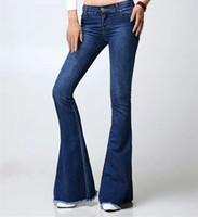 Wholesale Womens Plaid Boots - Wholesale- Fashion Female Mid Waist Bell Bottom Jeans Womens Boot Cut denim pants vintage wide leg flare jeans 101203