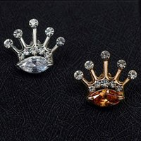 Vente en gros - 1pc Fashion Crystal Men Broche Lapel Pin pour costumes Handmade Stick Crown Broches Broches Bijoux Cadeaux G2R9C