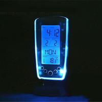 mavi lcd çalar saat toptan satış-Dijital Termometre Saat LCD Çalar Takvim LED Aydınlatmalı Mavi Aydınlatmalı Masaüstü Saatler Masaüstü Mavi Müzik Çalar Saat Led Çalar Saat En İyi